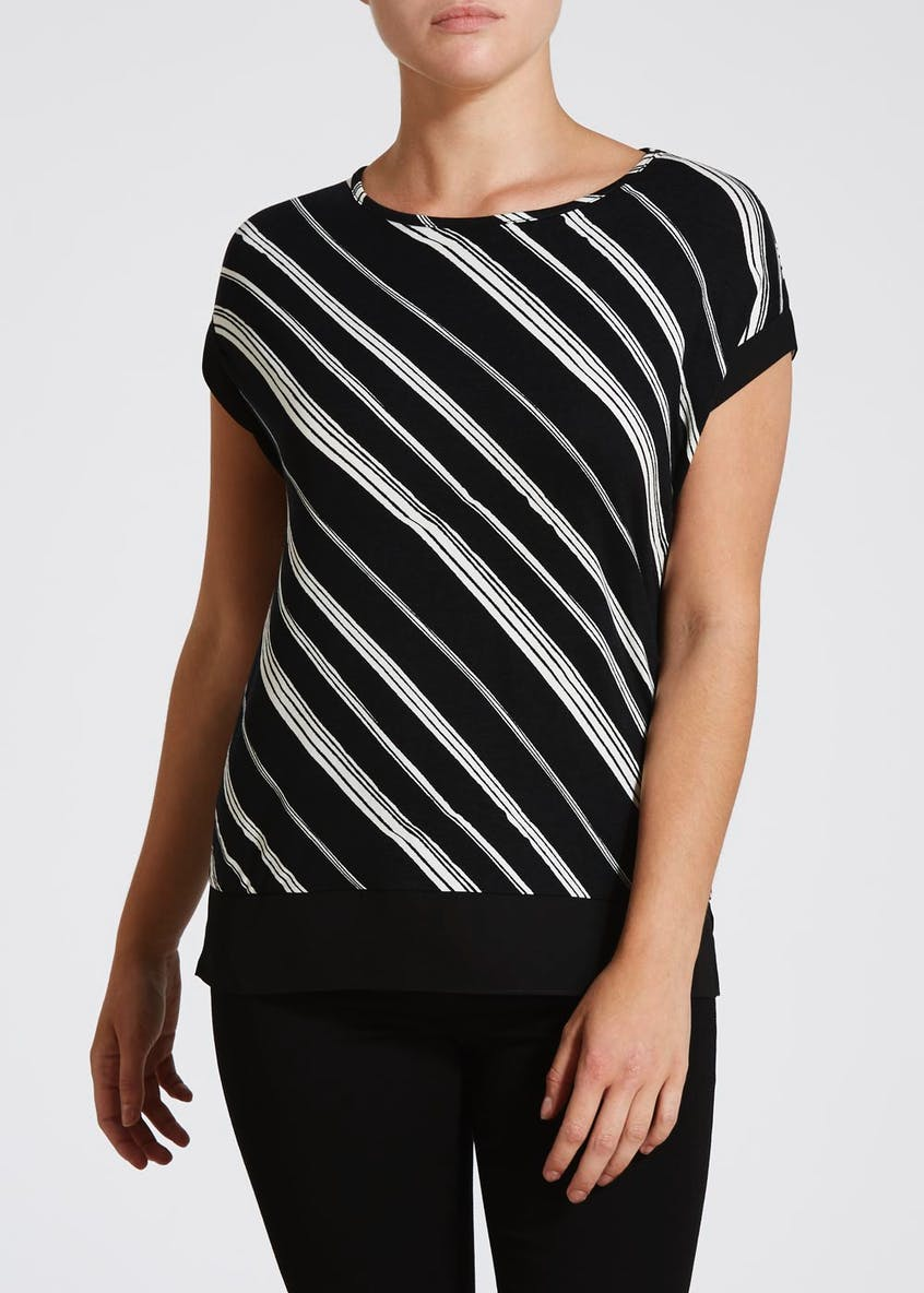 Papaya Petite Stripe Woven Hem Top