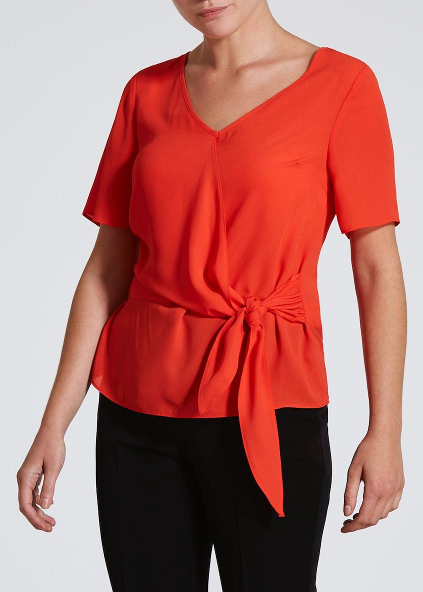 Papaya Petite Tie Front Box Top