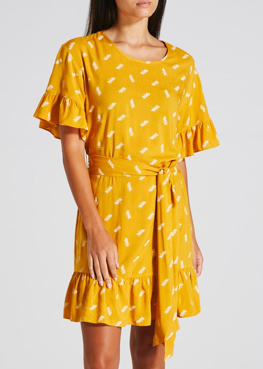 Papaya Petite Print Frill Dress - Mustard