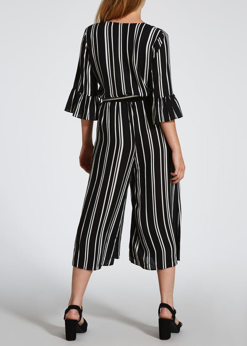 Papaya Petite Stripe Jumpsuit - Black