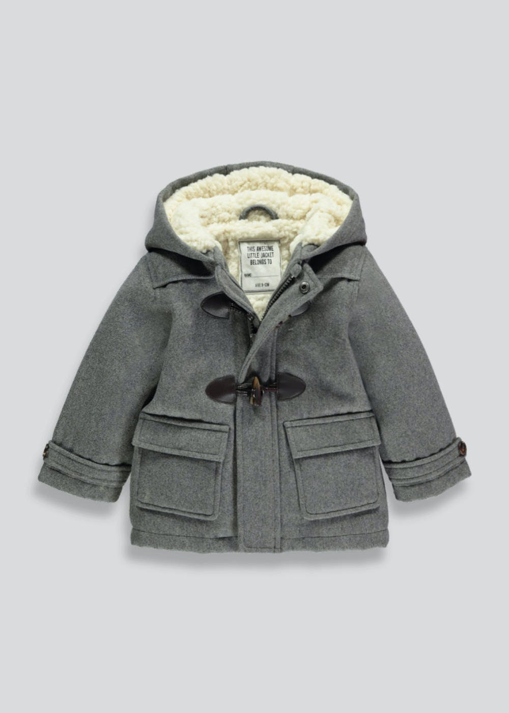 785bf9538 Kids Smart Duffle Coat (9mths-6yrs) – Grey – Matalan