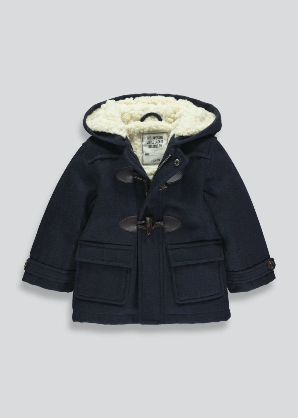 6b88993ec Kids Smart Duffle Coat (9mths-6yrs) – Navy – Matalan