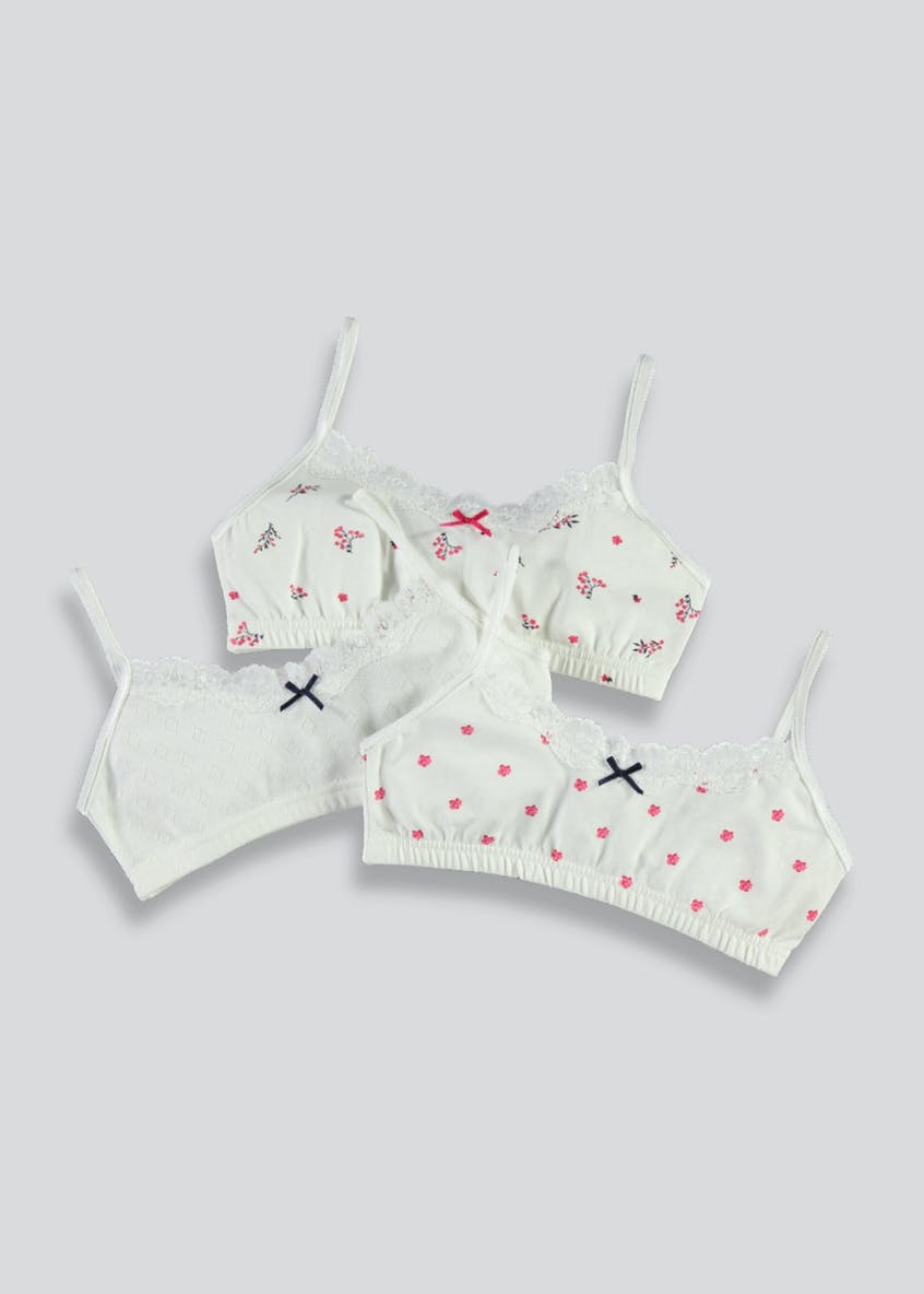 Girls 3 Pack Lace Pointelle Crop Tops (4-13yrs)