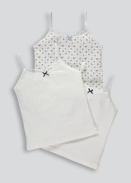 Girls 3 Pack Lace Pointelle Cami Vest Tops (4-13yrs)