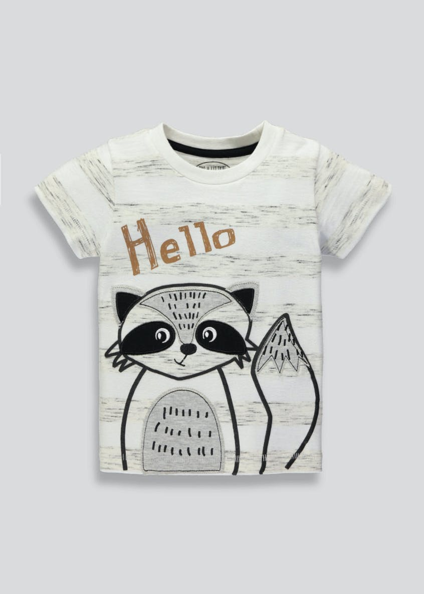 Kids Hello Slogan Raccoon T-Shirt (3mths-6yrs)