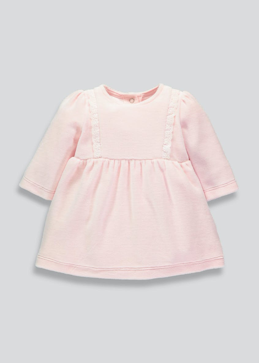 Girls Frill Velour Dress (Newborn-18mths)