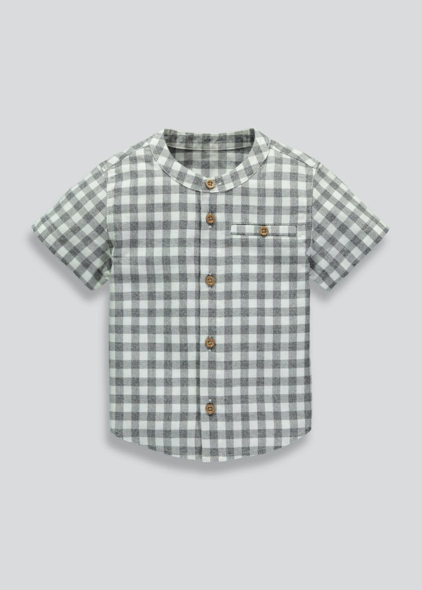 Boys Grandad Collar Check Shirt (3mths-6yrs)