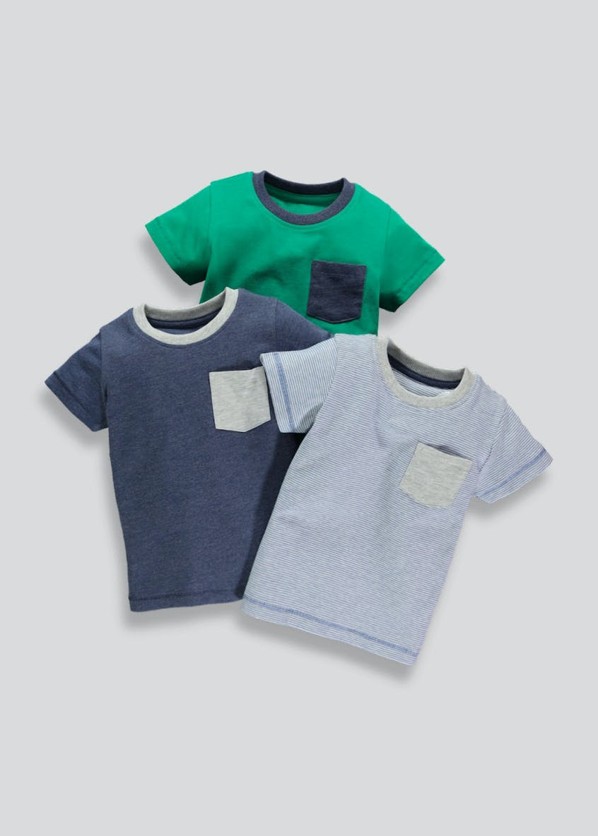 Boys 3 Pack Pocket T-Shirts (3mths-6yrs)
