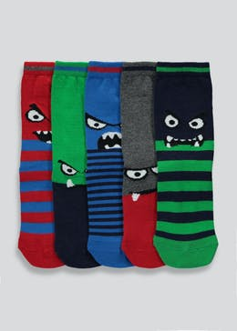 Boys 5 Pack Monster Socks (Younger Kids 6-Older Kids 6.5)