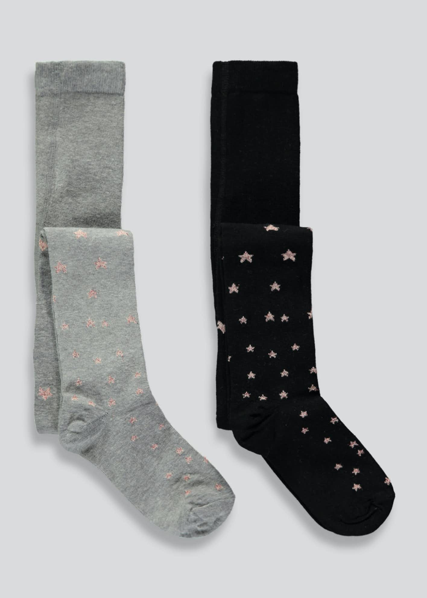 Girls 2 Pack Glitter Star Tights (2-11yrs)