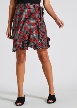 Floral Frill Wrap Skirt