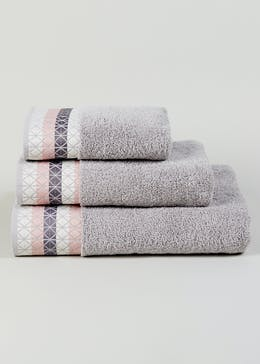Stripe Embroidered Border Towels