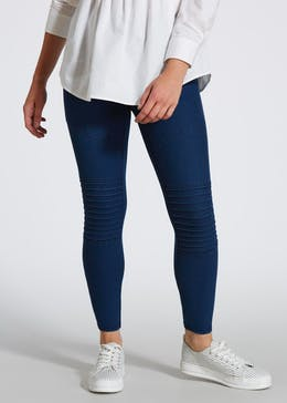 Papaya Petite Denim Pull On Biker Leggings