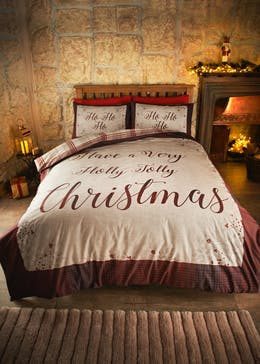 Holly Jolly Slogan Christmas Bedding Set