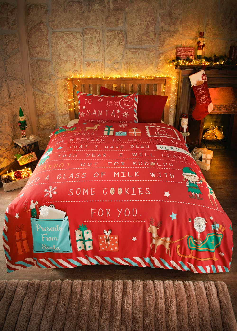 Kids Letter to Santa Christmas Bedding Set (Single) – Red – Matalan