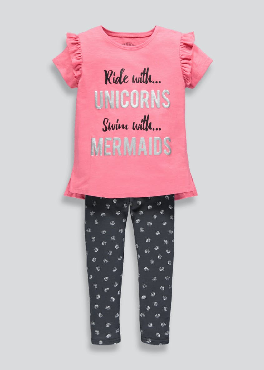 Girls Unicorn Mermaid Top & Leggings Set (4-13yrs)