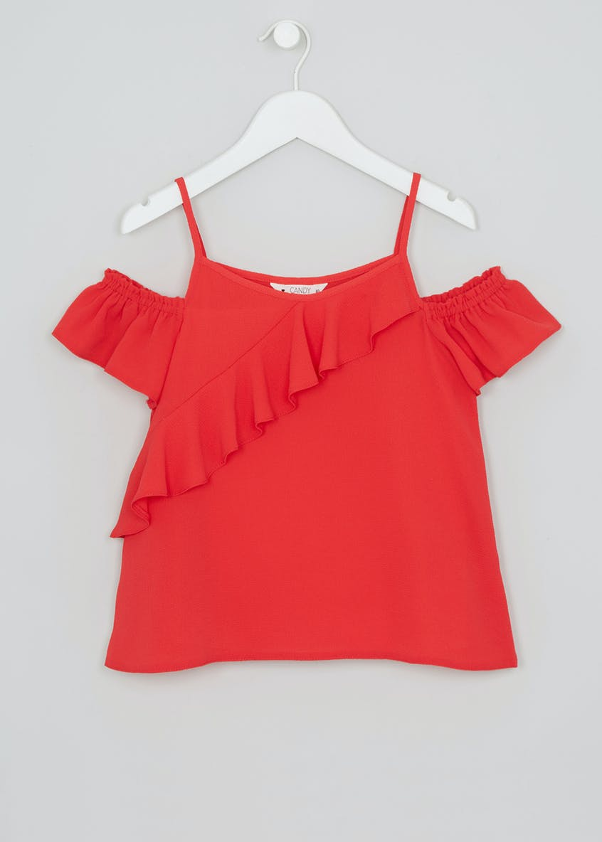 Girls Candy Couture Frill Cold Shoulder Top (9-16yrs)