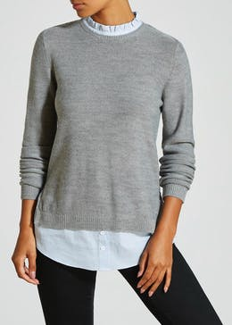 2 in 1 Frill Neck Shirt Jumper