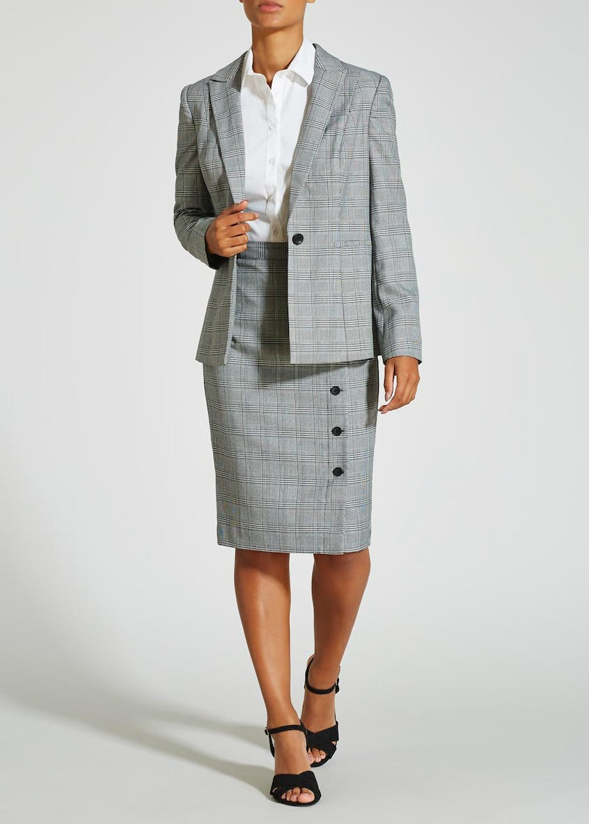 Check Button Pencil Suit Skirt