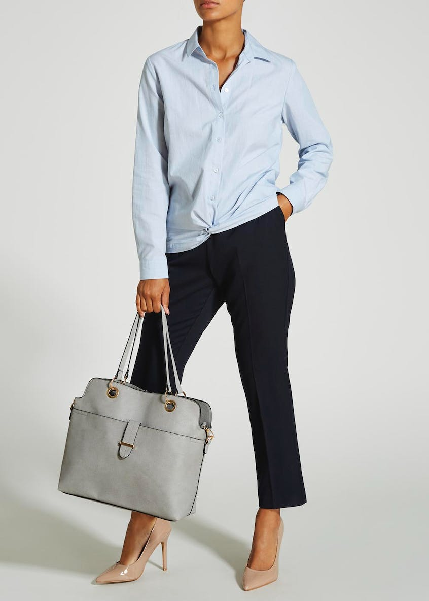 Ring Handle Textured Tote Bag