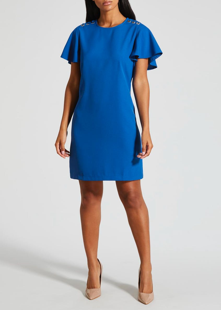 Eyelet Short Sleeve Dress - Blue