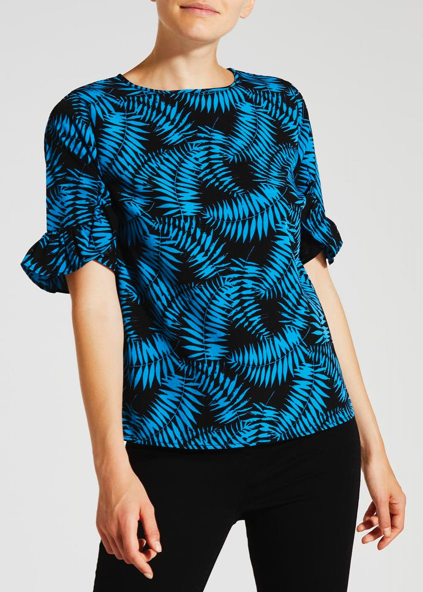 Palm Print Frill Sleeve Blouse