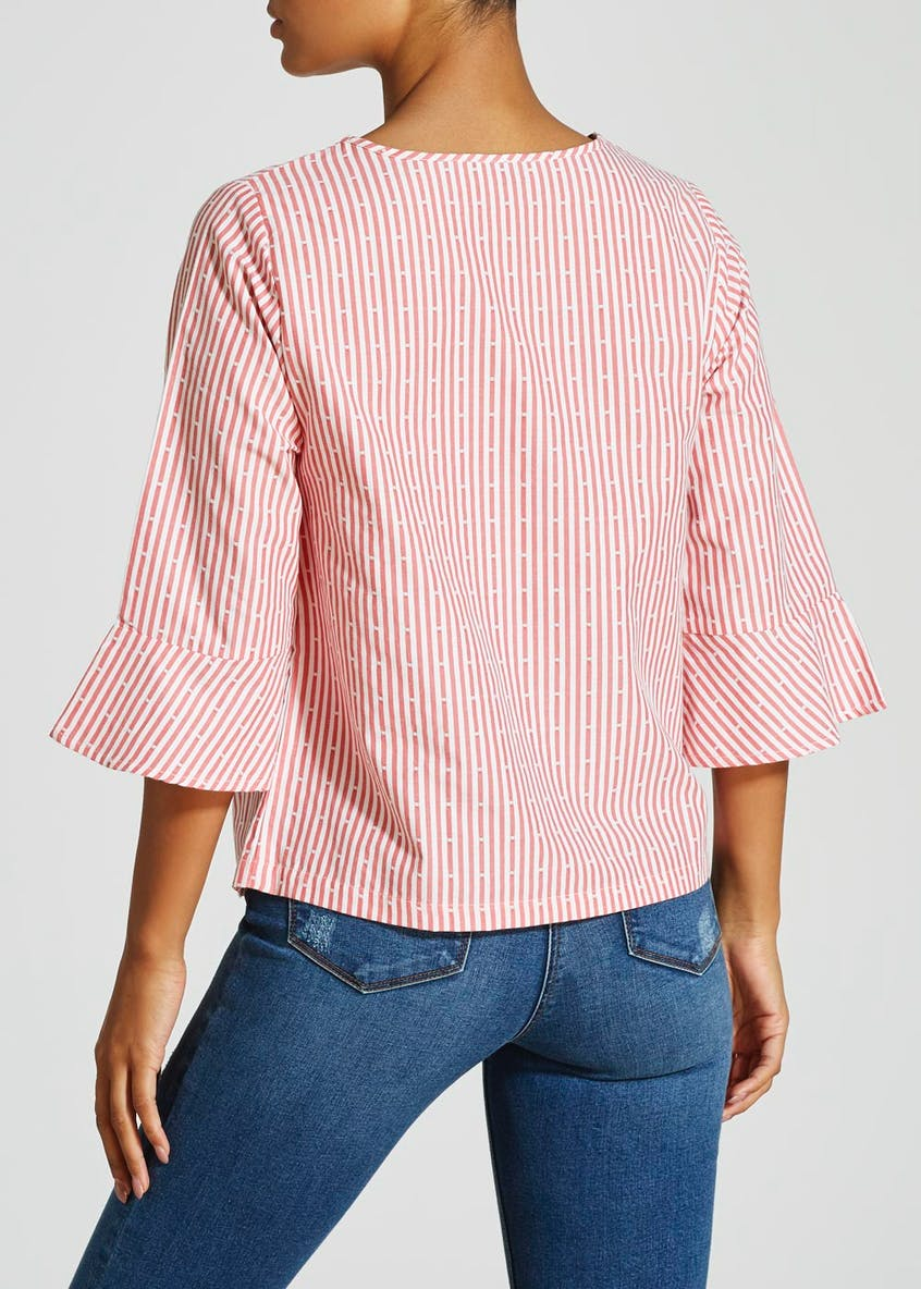 Stripe Bell Sleeve Blouse