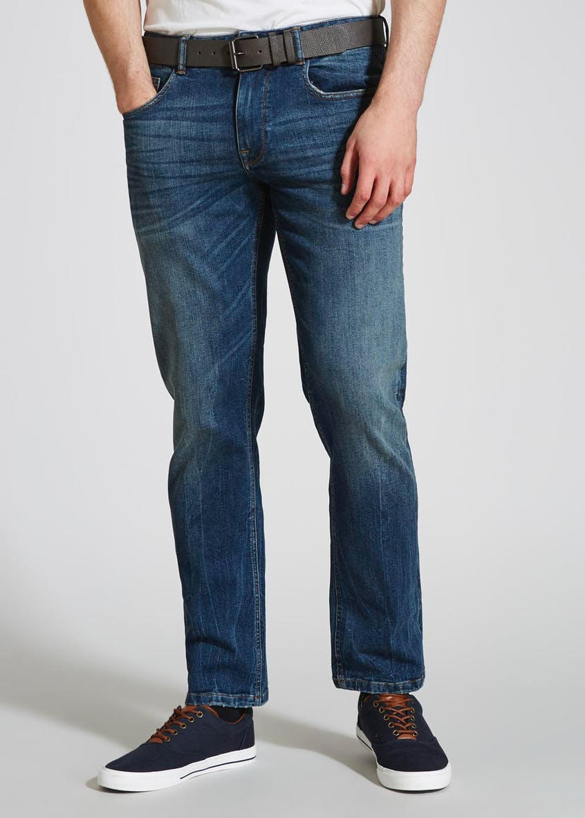 Stretch Straight Fit Belted Jeans