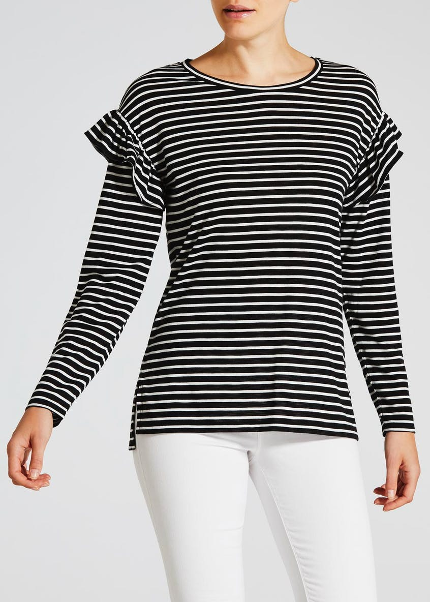 Stripe Ruffle Shoulder Long T-Shirt