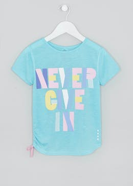 Girls Souluxe Never Give Up Slogan T-Shirt (4-13yrs)