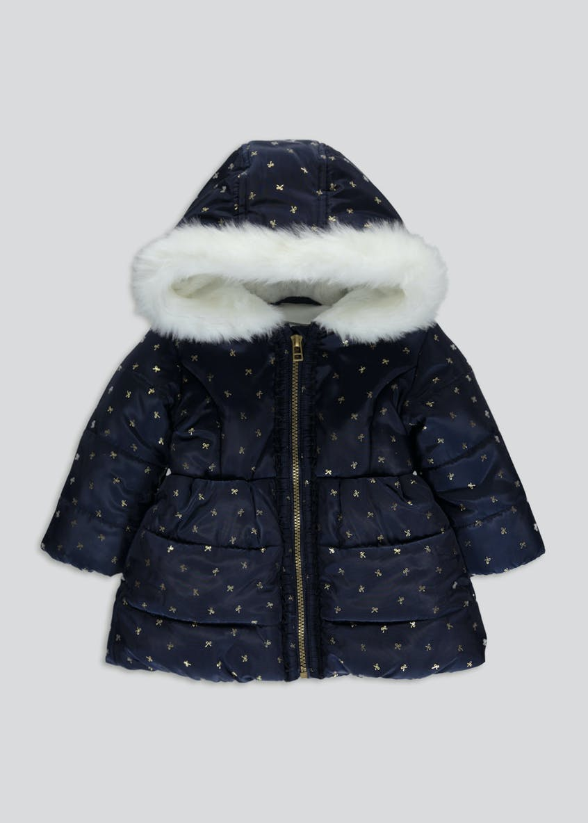 Girls Bow Print Padded Coat (6mths-6yrs)