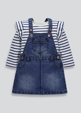 Girls Denim Pinafore & Frill T-Shirt (3mths-6yrs)