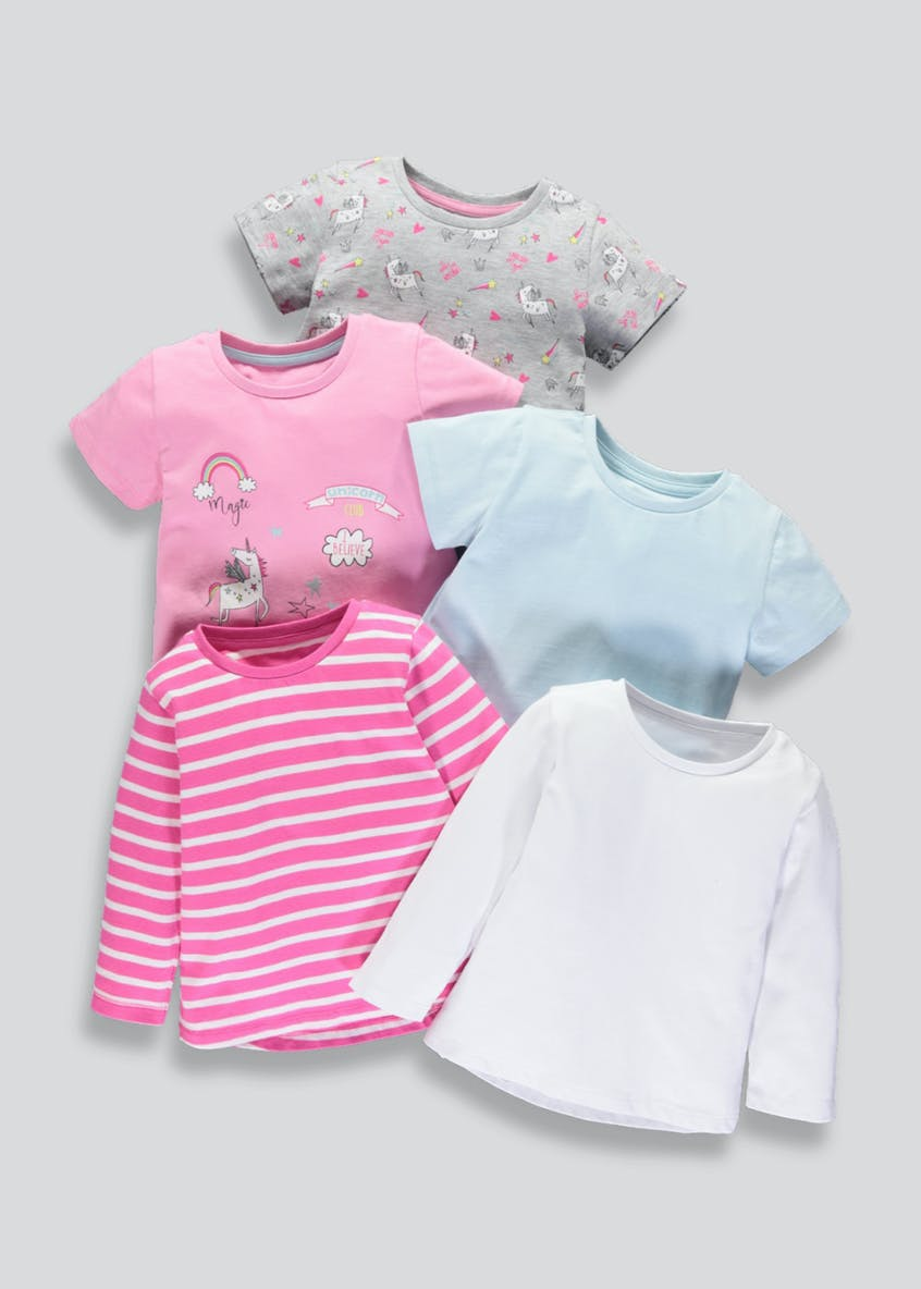 Girls 5 Pack T-Shirts (3mths-6yrs)