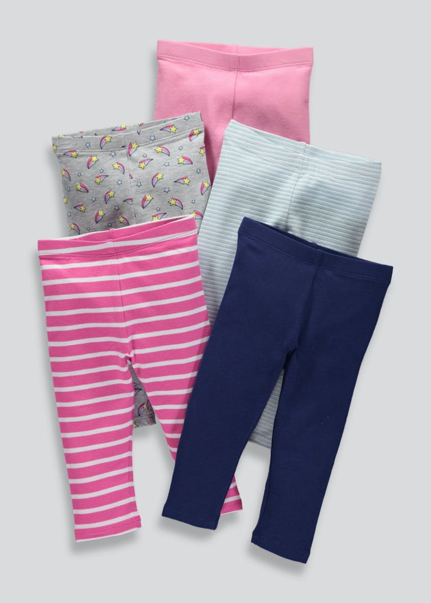 Girls 5 Pack Leggings (3mths-6yrs)