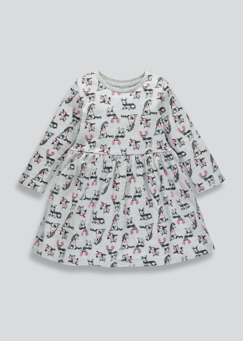 Girls Woodland Print Long Sleeve Jersey Dress (3mths-6yrs)