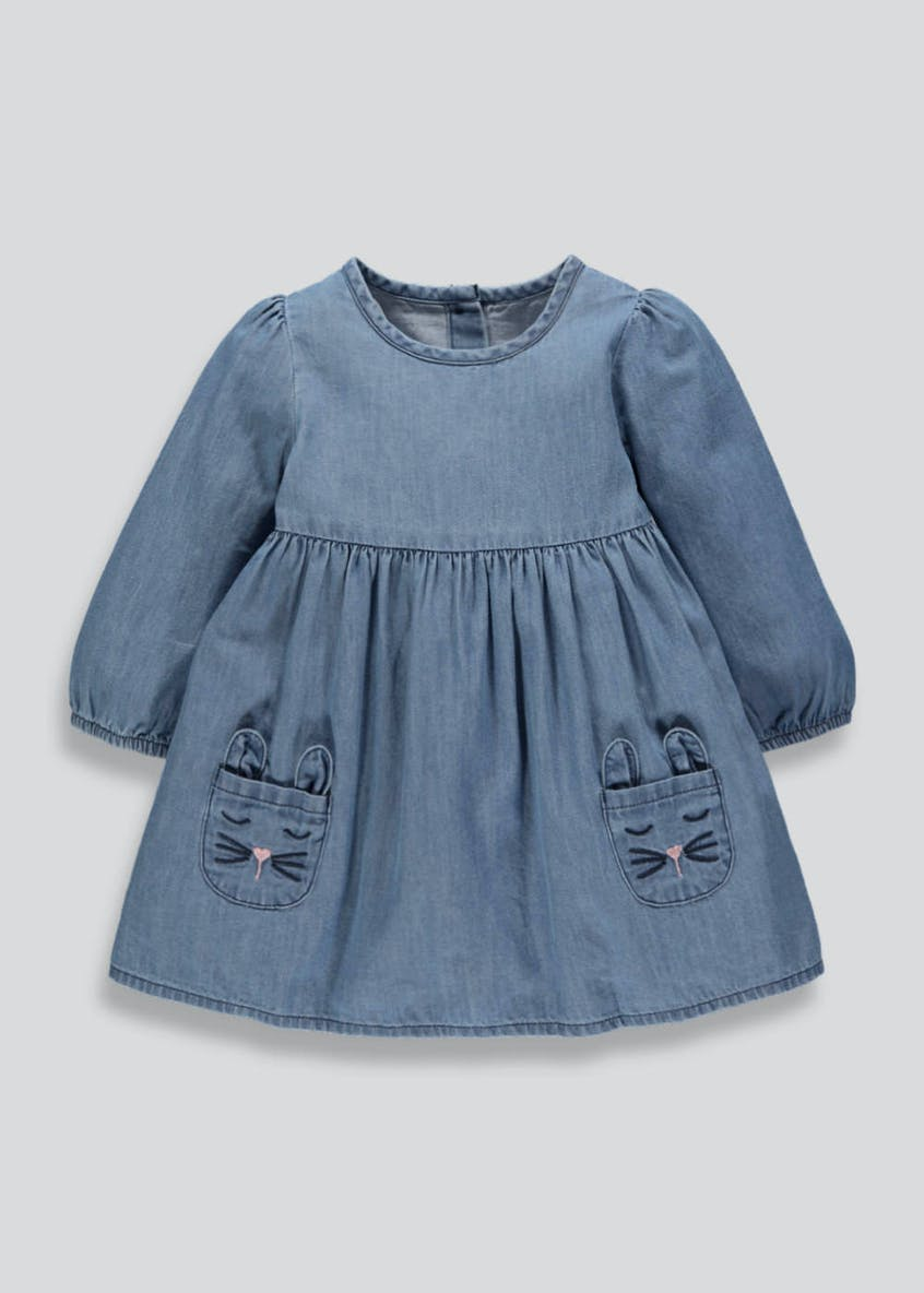 Girls Bunny Embroidered Denim Dress (3mths-6yrs)