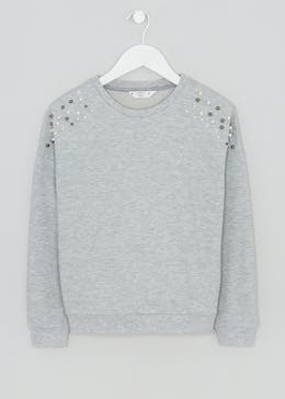 Girls Candy Couture Pearl Embellished Sweatshirt (9-16yrs)