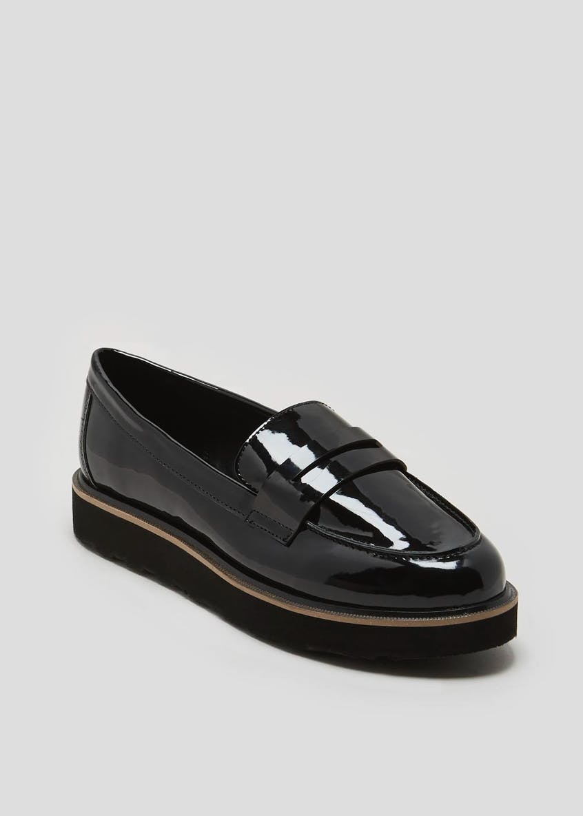 Wide Fit Patent Flatform Loafers