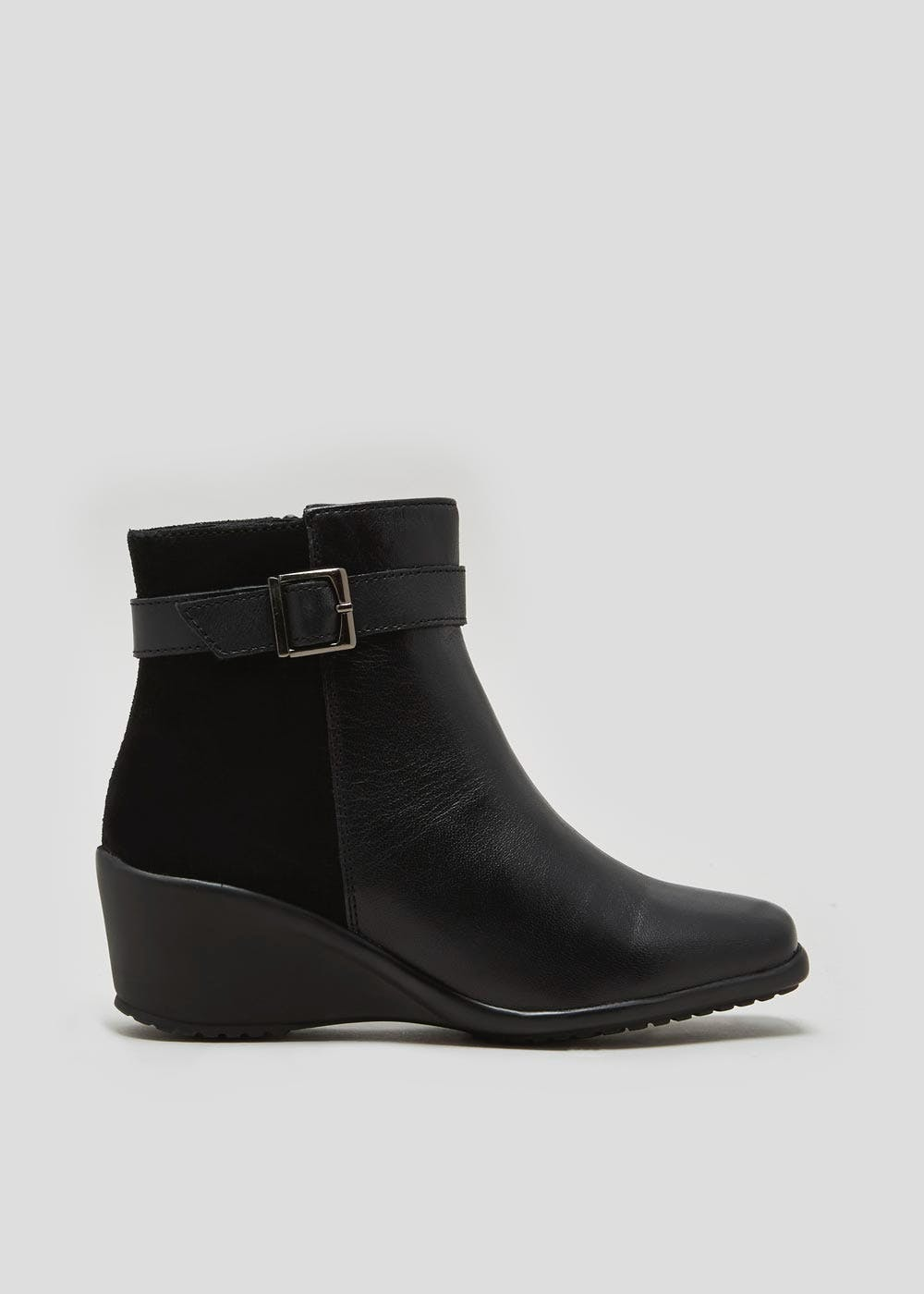 32d164aeedc Soleflex Real Leather Wedge Ankle Boots – Black – Matalan