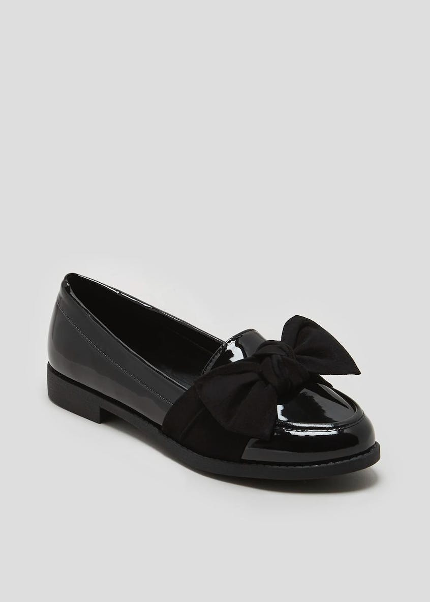 Wide Fit Patent Bow Loafers