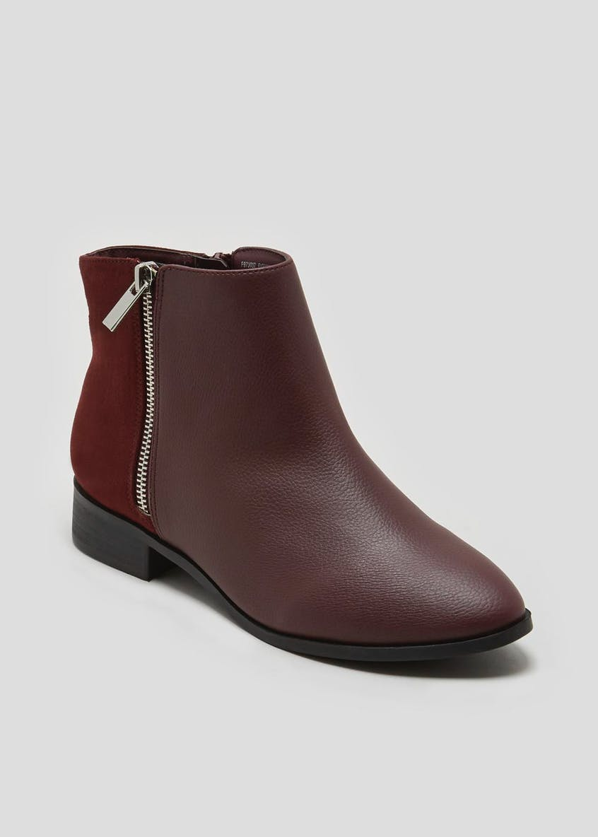 Wide Fit Side Zip Ankle Boots