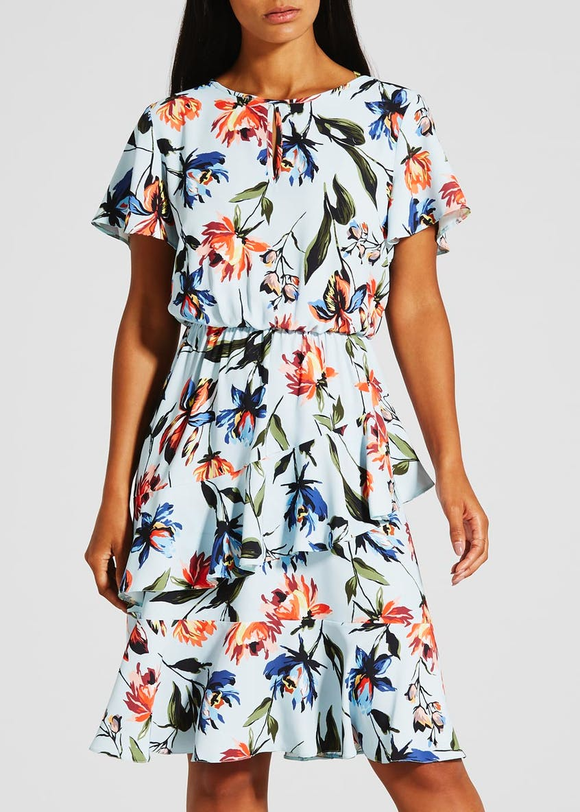 Floral Frill Dress - Blue