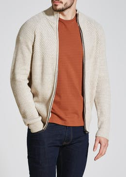 Knitted Rib Zip Through Jacket