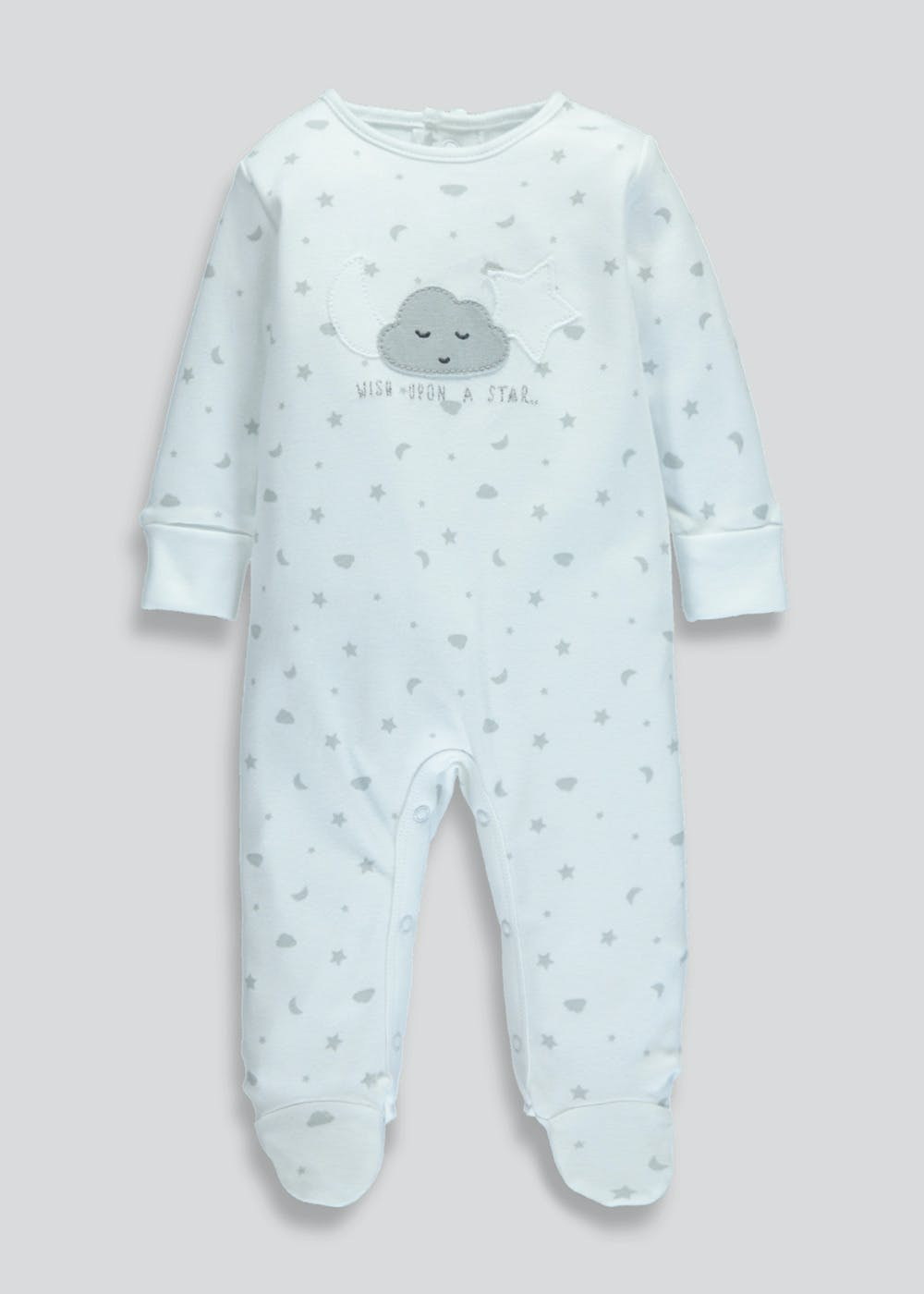3f8a62893 Unisex Cloud Print Sleepsuit (Tiny Baby-9mths) – White – Matalan