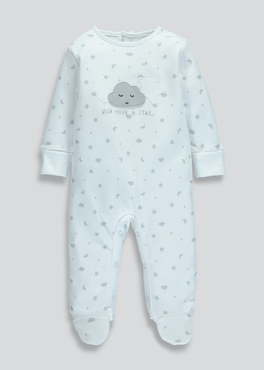 Unisex Cloud Print Sleepsuit (Tiny Baby-9mths)