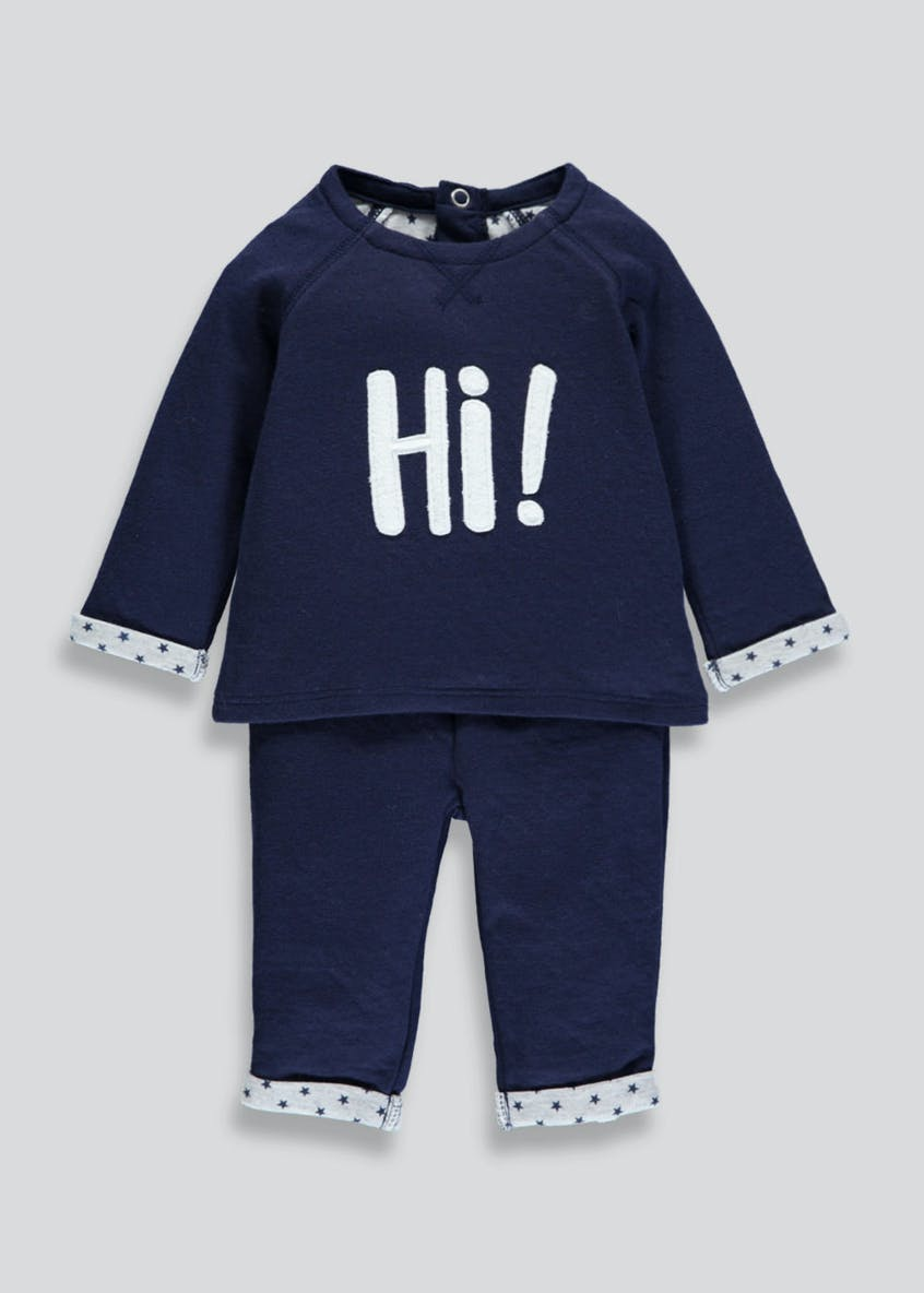 Unisex Hi Slogan Top & Bottoms Set (Newborn-18mths)