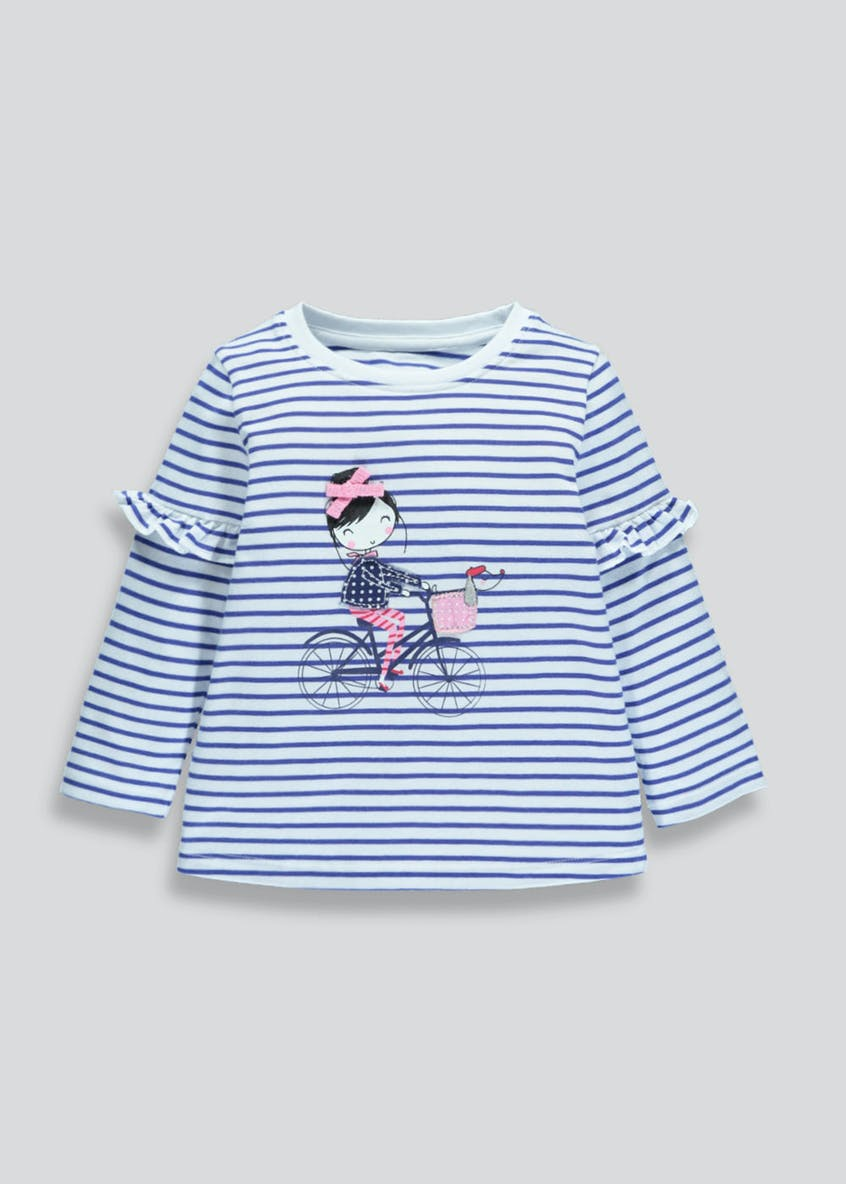 Girls Frill Sleeve Striped Top (3mths-6yrs)
