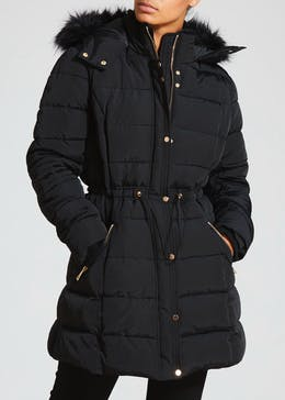 Long Padded Fur Trim Jacket