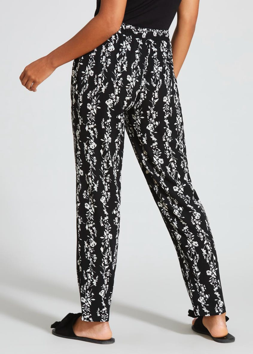 Floral Stripe Tapered Trousers
