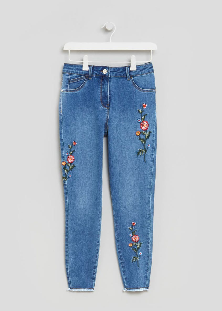 April Embroidered Super Skinny Ankle Grazer Jeans